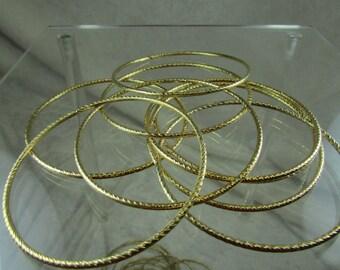 Gold plated thin round bangle bracelet
