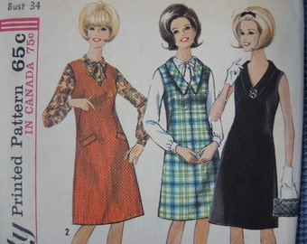 vintage 1960s Simplicity sewing pattern 6084 dress or jumper and blouse size 14 UNCUT