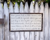 Love Grows Best in Little Houses  Rustic Distressed Farmhouse Style Framed Wood Sign 13.5x24