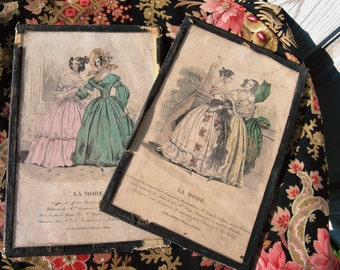 Pair of Antique French Passe Partout Cadre Framed Vintage La Mode Fashion Prints c.1900's