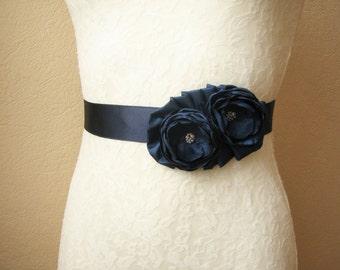 Navy Wedding Sash, Bridal Belt, Bridesmaid Dress Belt, Nautical Wedding, Floral accessory