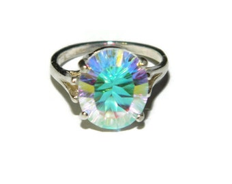 Ring With Big Stone, Opal White Quartz Ring, Rainbow Ring, Big Stone, Sterling Silver