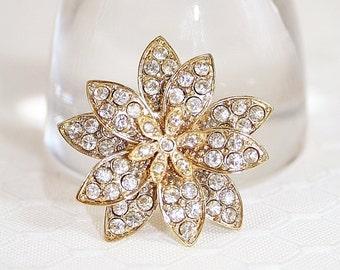 Vintage Rhinestone Flower Pin Brooch Sparkling Dazzling