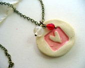 Ceramic Pendent Necklace, Pink Heart, Antiqued Brass, Pendant Necklace, Fashion Jewelry, Hand Stamped, Shabby Chic