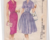 1961 Size 18 Dress with Slim or Pleated Skirt 60s Vintage Sewing Pattern - McCalls 5807 - Bust 38, Partially Cut, Complete