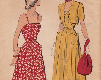 "40s Gorgeous Sundress with Spegetti Straps & Scalloped Bolero Vintage Sewing Pattern [Advance 5180] Size 12, Bust 30"" Complete"