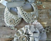 Dazzling Silver Grey Baby Set 9-12 months Ready To Ship. Crib Shoes Headband