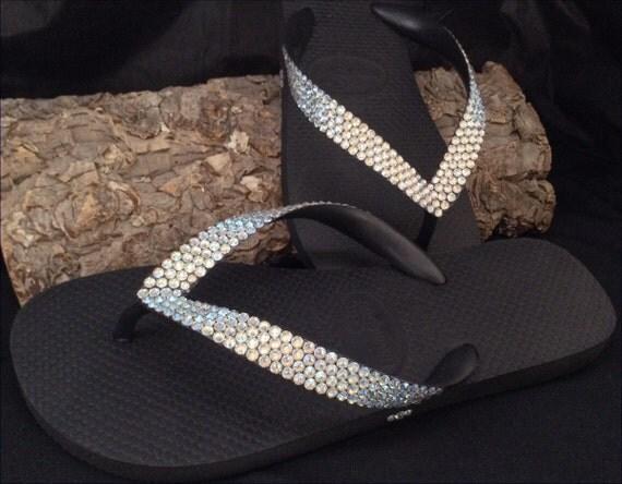Custom Crystal Flip Flops w/ Swarovski Ivory Cream Moonlight Solid BLING Rhinestone Havaianas or Cariris Wedge 1.5 Heel Beach Wedding Shoes