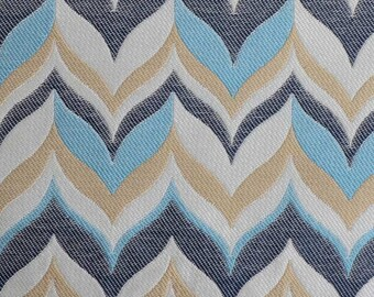 Denim Blue Upholstery Fabric - Heavyweight Furniture Fabric - Taupe Dark Blue Fabric - Modern Light Blue Pillows - Taupe Upholstery