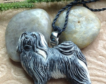 "Necklace, ""Lhasa Apso"" Tibetan, Dog Pendant, Bone/Horn, Cotton Cord, Handcrafted"