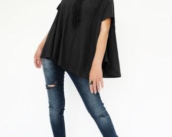 NO.196 Black Cotton Jersey Boat Neck Tee, Asymmetric Loose T-Shirt, Women's Top