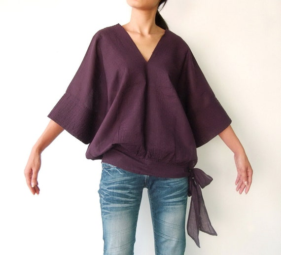NO.13 Plum Cotton V-Neck Top, Dolman Sleeves Top, Women's Top