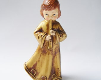 Beautiful Vintage Gold Adorned Flute Playing Angel Figurine That Appears To Be Signed