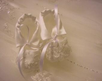 Custom Christening Booties from your Wedding Dress