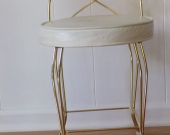 Vintage gold toned vanity chair - Art Deco - Retro - gold stool - hollwood regency