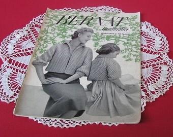 Vintage 50s Knitting Pattern Magazine . Jumbo Knits for the Family . Bernat Handicrafter No. 41 . 1950s Boys Girls Men Women Knit Fashion