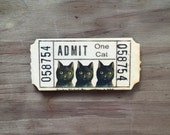 Black Cat Ticket Wood Needle Minder