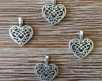 Antique Silver Color Tibetan Style Heart Charm Pendant 4 pcs