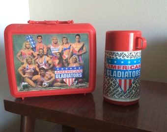 Vintage American Gladiators Aladdin Brand Lunch Box with Thermos