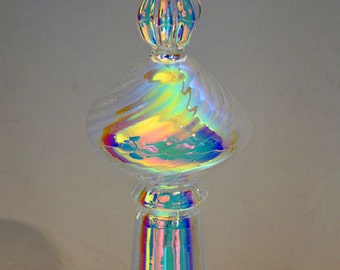 Blown Tree Topper, Dichroic Tree Topper, Iridescent Christmas Topper