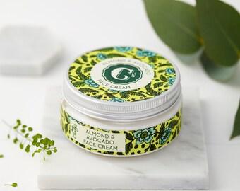 Sensitive Skin-Face Cream-Almond-Avocado-Face Moisturizer-Natural Face Cream-Vegan Face Cream-Natural Beauty Cream-Cruelty-Natural Primer