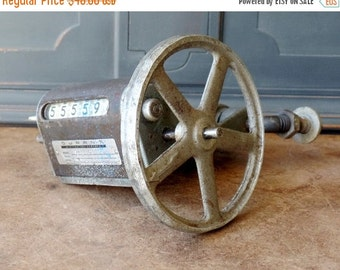 Clearance Vintage Industrial Steampunk Salvage, Wheel, Counter, Repurpose, Upcycle, Rustic, Chippy