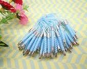 Cell Phone Strap Lanyard--20 pcs 70x3mm Light Blue Lariat Lanyard Mobile Cell Phone Strap Chains Connectors With Silver Metal Top