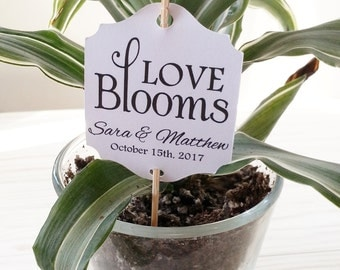 Love Blooms -  Plant Tag - Wedding Favor Thank You Tags - Personalized - Bridal Shower - Baby Shower - Custom Quantities WT-049