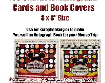 Character Autograph 8x8 Pages - DIY Disney Autograph Book - Character Autograph Cards - Instant Download