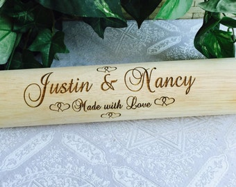 Personalized Wood Rolling Pin for Wedding Gift, Anniversary, Bridal shower, Party Favor/Supply