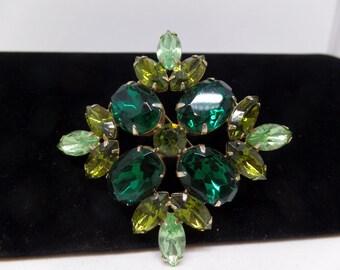 JULIANA Vintage Green Crystal Brooch