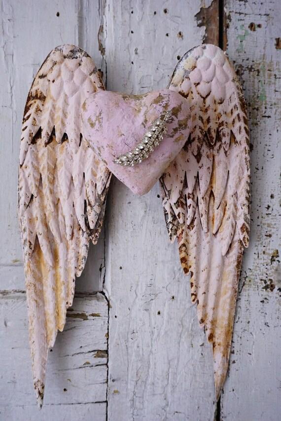 Pink Metal Angel Wings Handmade Heart Wall Hanging Distressed