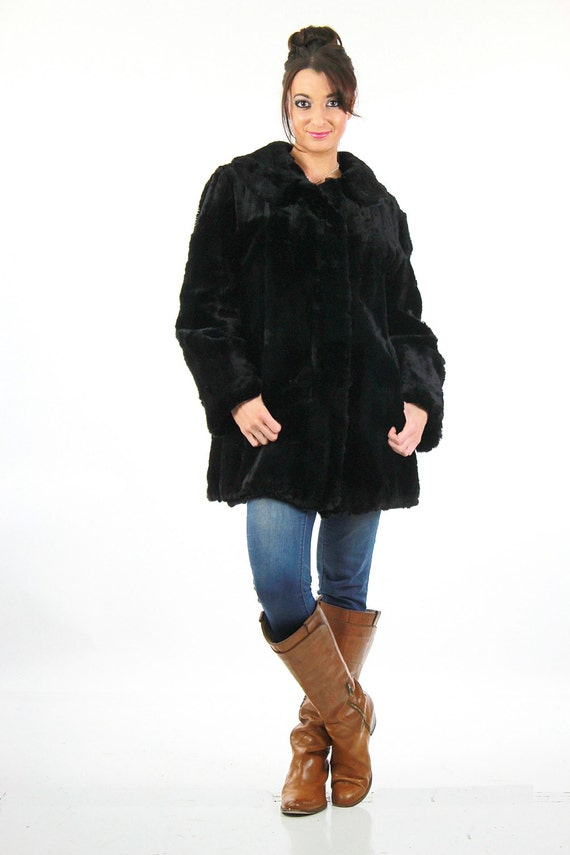 Vintage 40s Black fur coat muskrat Hudson Seal fur jacket