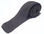 Vintage 1980s Charcoal Gray Cotton Square End Knit Tie by Pierre Cardin