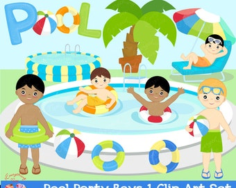 Pool Party Boys Clipart Set