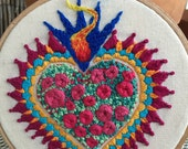 Hand embroidered Floral Sacred heart art