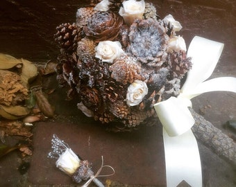 Winter Bridal Bouquet - Pine Cone Bridal Bouquet - Rustic Bouquet - Alternative Bridal Bouquet - Winter Wedding