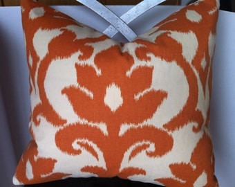 Cream and burnt orange large damask Cotton pillow cover