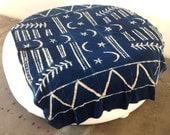 "Mossi Indigo Shibori Dyed Bogolanfini Cotton Mudcloth with Crescent Moons + Stars Motif from Mali | 68"" x 49"""