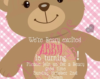 Beary Cute Birthday Invitation