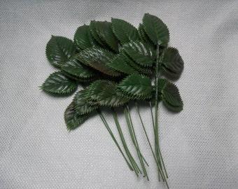 Vintage Millinery Leaves, Green Plastic Craft Leaves