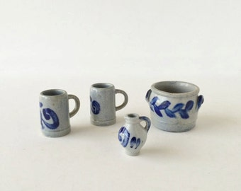 Vintage Lufthansa Miniature Beer Steins, Instant Collection Miniature Crock and Pitcher Cobalt Salt Glazed Stoneware Pottery West Germany