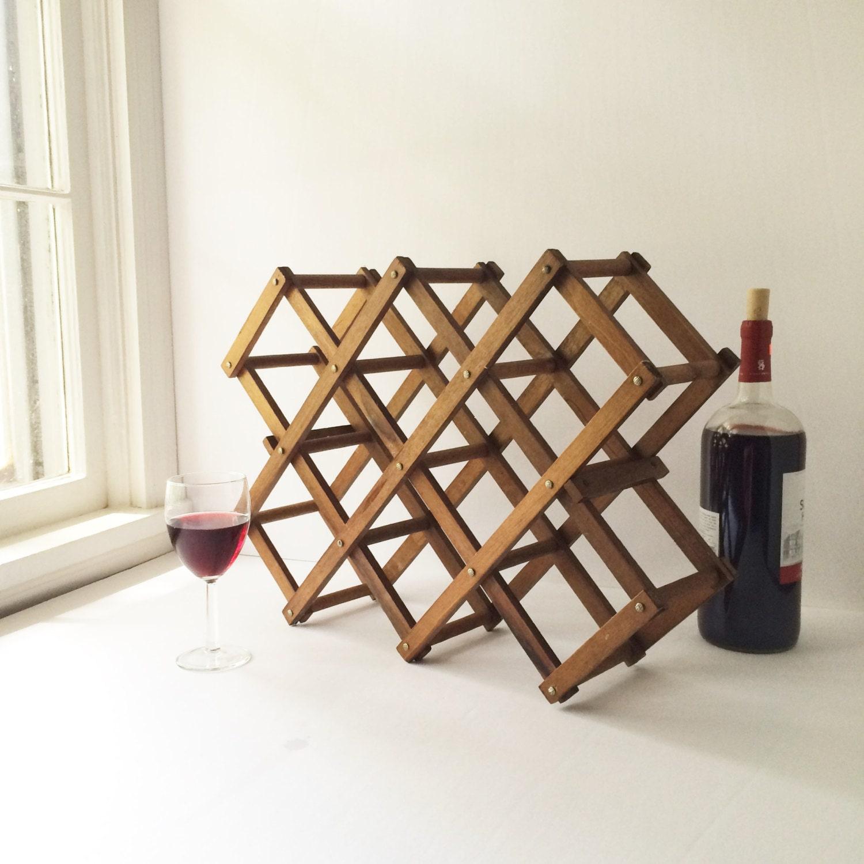 Vintage Wooden Folding Wine Rack Accordion Countertop Style