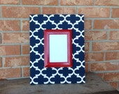Fabric Picture Frame Home Decor Fabric Covered Frame Navy Quatrefoil  Wedding Gift Wall Decor