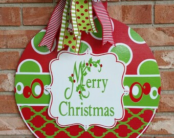 Christmas Ornament Door Hanger Christmas Decor Christmas Door Hanger Large Ornament Door Hanger Merry Christmas Sign
