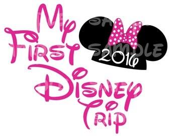 My First Disney Trip Minnie 2016 Custom DIY Printable Iron On Transfer Disney
