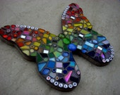 Personalised Butterfly Rainbow Garden ornament, yard art, wall plaque, mosaic butterfly, outdoor decorations,handmade,bespoke,personalised,