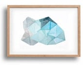 Iceberg III. original linocut print by Paulina Vårregn, geometry ice blue illustration