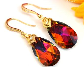 Bridal Earrings Swarovski Earrings Teardrop Shape Volcano Crystal 16k Gold plated Hypoallergenic Bridesmaid Earrings Fashion Jewelry VO32H