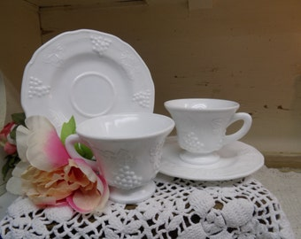 2 Vintage White or Milk Glass Cup and Saucer Sets 4 Pieces Total  B315